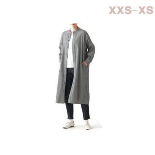 ムジルシリョウヒン(MUJI (無印良品))の無印良品     両面起毛フランネルスタンドカラーロング丈シャツ XXS-XS(ひざ丈ワンピース)