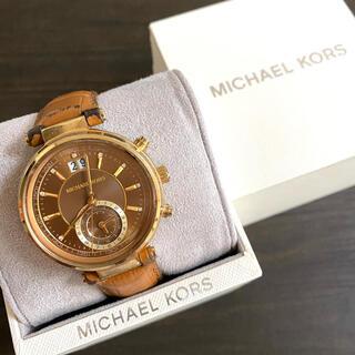 マイケルコース(Michael Kors)の【大特価!!】マイケルコース 腕時計 小秒針 ブラウンレザー 秋 ハロウィン🎀(腕時計)