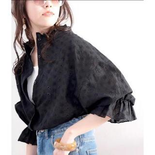 クラシカルエルフ 2way 花柄刺繍ブラウス ブラック シャツ
