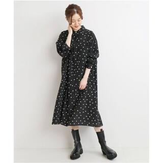 イエナ(IENA)のIENA ドットシャツミニワンピース サイズ36(ひざ丈ワンピース)