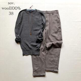 ダブルスタンダードクロージング(DOUBLE STANDARD CLOTHING)の384ソブ上質イタリア製ウール100%クルーネックワイドリブニット グレー38M(ニット/セーター)