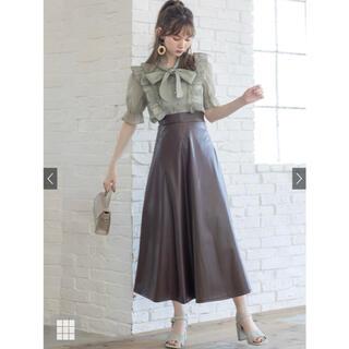 グレイル(GRL)のGRL レザーフレアスカート k8059v ブラウン(ロングスカート)