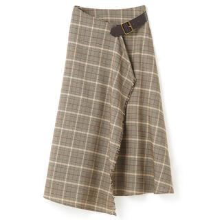 グレイル(GRL)のGRL サイドベルト付きラップチェックスカート 新作 人気 韓国ファッション 秋(ロングスカート)