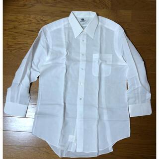 ランバン(LANVIN)のLANVIN!白ドレスシャツ・麻、綿 サイズ42-80 Mぐらい(シャツ)
