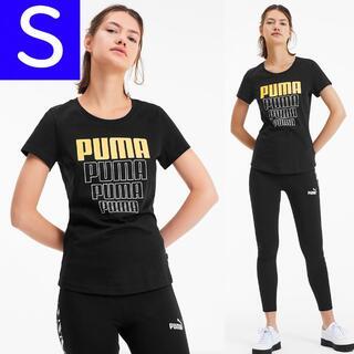 プーマ(PUMA)のPUMA ゴールドロゴ オーバーサイズ 半袖 Tシャツ 黒 Sサイズ レディース(Tシャツ(半袖/袖なし))