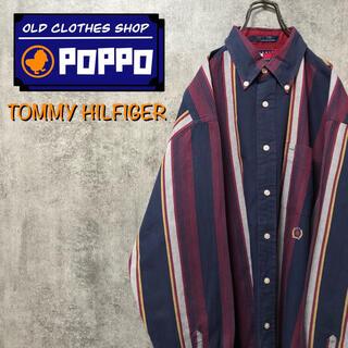 TOMMY HILFIGER - トミーヒルフィガー☆オールド刺繍ロゴレトロマルチストライプシャツ 90s
