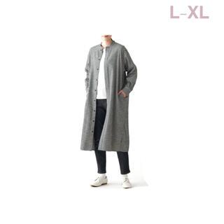 ムジルシリョウヒン(MUJI (無印良品))の無印良品     両面起毛フランネルスタンドカラーロング丈シャツ L-XL・(ひざ丈ワンピース)