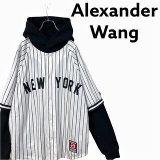 アレキサンダーワン(Alexander Wang)の【廃盤】アレキサンダーワン ベースボールシャツ ドッキング パーカー メンズ(パーカー)