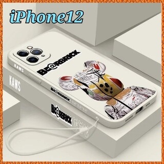 iPhone12 ケース 【Kaws ベアブリック ホワイト】オシャレ 可愛い