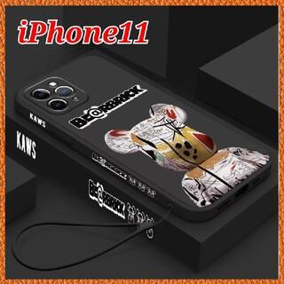 アイフォーン(iPhone)のiPhone11 ケース 【Kaws ベアブリック マットブラック】オシャレ 可(iPhoneケース)