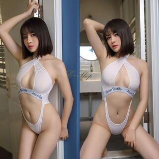 【白】セクシーハイレグワンピース水着オープンクロッチA30(衣装一式)