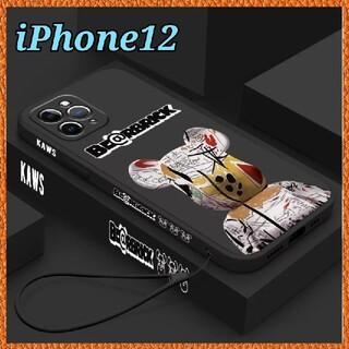 アイフォーン(iPhone)のiPhone12 ケース 【Kaws ベアブリック マットブラック】オシャレ (iPhoneケース)