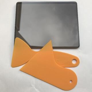 茶色ガラス板 ジラコヘラセット  革床面磨きガラス板 レザークラフト工具道具(その他)