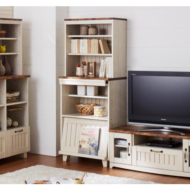 カントリースタイル フラップキャビネット 食器棚/収納棚 高さ150 インテリア/住まい/日用品の収納家具(リビング収納)の商品写真