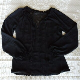 マウジー(moussy)のmoussy マウジー 刺繍 シフォン ブラウス 黒(シャツ/ブラウス(長袖/七分))
