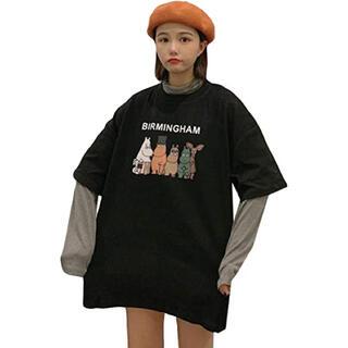 半袖 Tシャツ ビッグT   XXL   キャラクター ロゴ プリント 韓国服