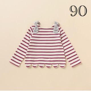 petit main - 着画あり☆プティマイン 肩リボンスカラップボーダーTシャツ 90 ディープピンク