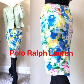 ポロラルフローレン(POLO RALPH LAUREN)の【大きいサイズ】ラルフローレン 花柄 美脚 タイトスカート 13号向け サイズ6(ひざ丈スカート)