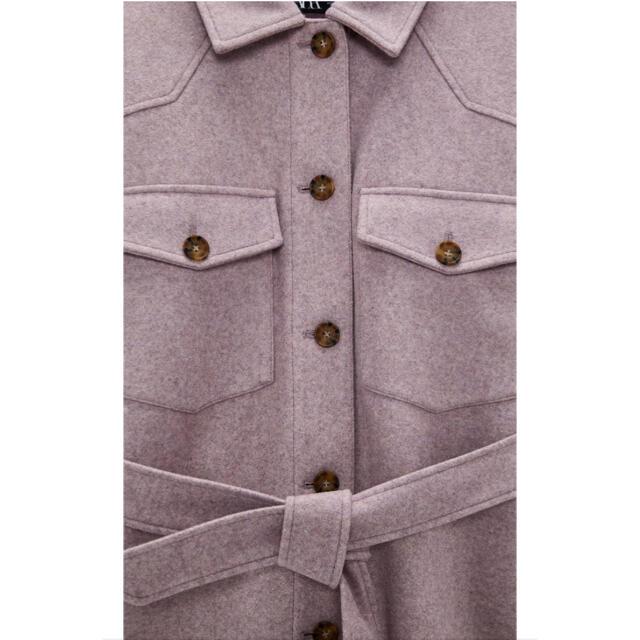 ZARA(ザラ)の【新品】ZARA ベルト付きシャツジャケット M パープル ジャケット CPO レディースのジャケット/アウター(その他)の商品写真