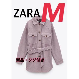 ZARA - 【新品】ZARA ベルト付きシャツジャケット M パープル ジャケット CPO