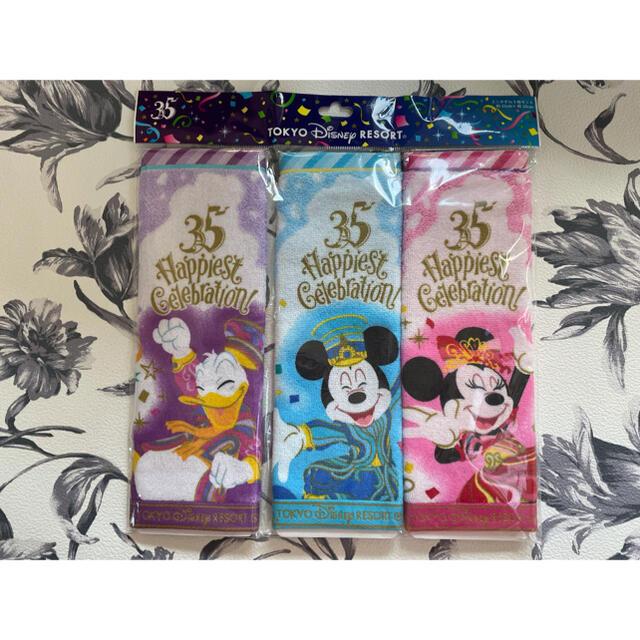 Disney(ディズニー)の☆新品未使用☆ ディズニー 35周年 ミニタオル3枚セット エンタメ/ホビーのおもちゃ/ぬいぐるみ(キャラクターグッズ)の商品写真