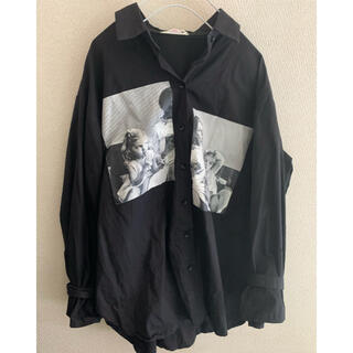 シャツ プリント 柄シャツ 長袖 ドルマン サブカル ブラック オーバーサイズ