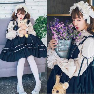 ロリータ 长袖 ゴスロリドレス メイド ブラウス セットLお嬢様 蝶結びⓂ️(衣装一式)