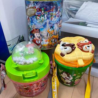 ディズニーポップコーンバケツ2つ+ディズニー限定缶セット