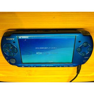 ソニー(SONY)のpsp 3000 ブルー ジャンク 通電確認済 ボタン確認済(携帯用ゲーム機本体)
