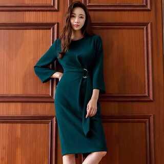 【グリーン/Mサイズ】 ワンピース レディース ドレス お呼ばれ 七分袖 膝丈