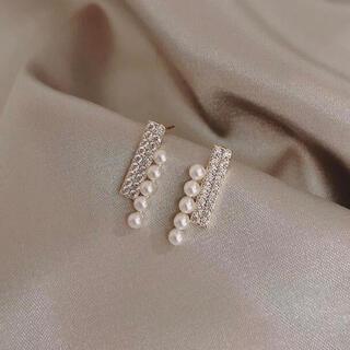 ヨンドシー(4℃)の新品pearl & zirconia bar pierce ◯s925 post(ピアス)