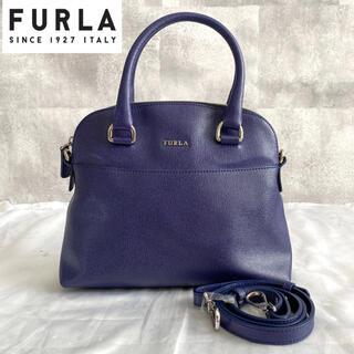 フルラ(Furla)の【美品】FURLA フルラ 2way レザー ハンドバッグ ネイビー 保存袋付き(ハンドバッグ)
