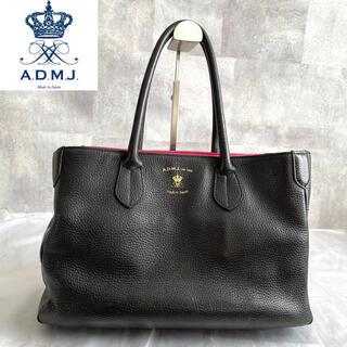 A.D.M.J. - 【ADMJ】エーディーエムジェー 黒 シュリンク型押し 黒 A4 トートバッグ