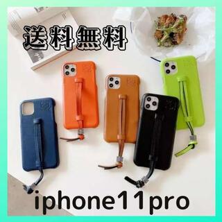 キャメル/iPhone11 proケース/カバー/レザー ハンドベルト付き