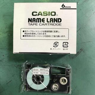 カシオ(CASIO)のCASIO ネームランド 黒文字 6mm 5Pセット(テープ/マスキングテープ)