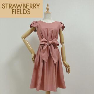 ストロベリーフィールズ(STRAWBERRY-FIELDS)のストロベリーフィールズ ウエストリボンワンピース ドレス(ミディアムドレス)