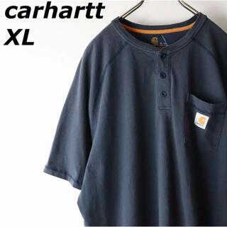 古着 カーハート ヘンリーネック ポケットTシャツ ネイビー メンズ XL