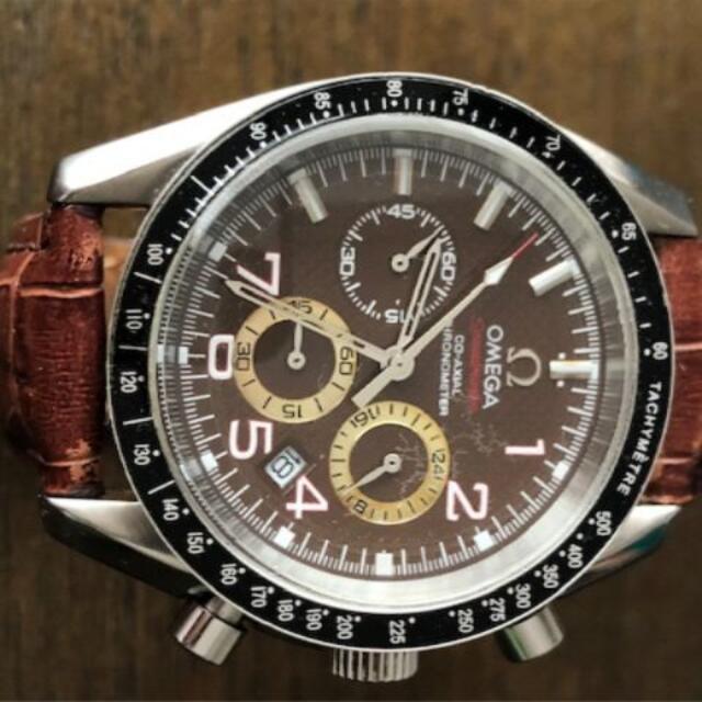 OMEGA(オメガ)のOMEGA オメガスピードマスター茶文字盤  精度2秒/日 ベルト2本あり メンズの時計(腕時計(アナログ))の商品写真
