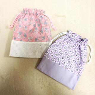 巾着 給食袋 ハンドメイド 女の子 小花柄 マーガレット レース ピンク(外出用品)