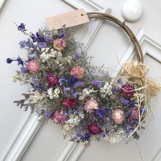 ブルーファンタジアと小花のドライフラワーリース(リース)