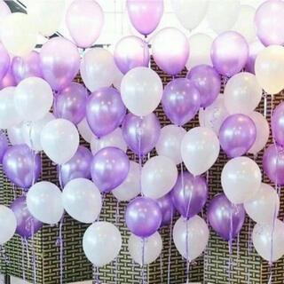 【15個】白 紫 風船 バルーン 結婚式 誕生日 パーティー 飾り 装飾(ウェルカムボード)