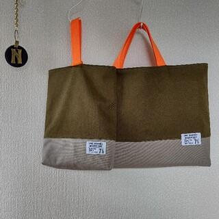 オリーブ/グレー×蛍光オレンジ レッスンバッグ 上履き入れ(バッグ/レッスンバッグ)