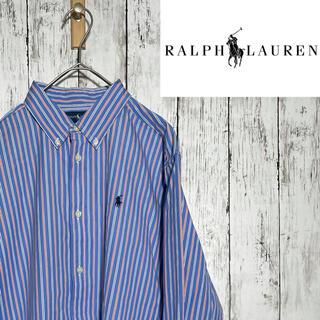 Ralph Lauren - 【超人気】ラルフローレン ストライプシャツ XL 刺繍ロゴ ゆるだぼ 長袖シャツ