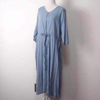 ショコラフィネローブ(chocol raffine robe)のchocol raffine robe くすみブルーワンピ(ひざ丈ワンピース)