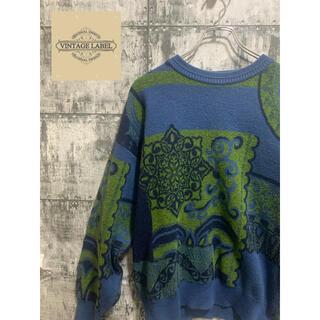 ART VINTAGE - 【90s】vintage Knit sweater ニット セーター 総柄アート