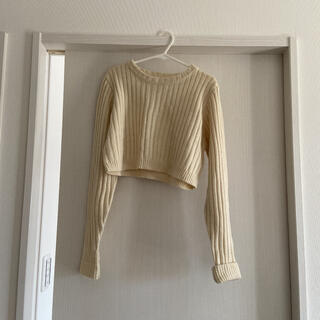 ローリーズファーム(LOWRYS FARM)のニット セーター リブ編み 韓国 ショート丈 シャツ ブラウス ベージュ(ニット/セーター)