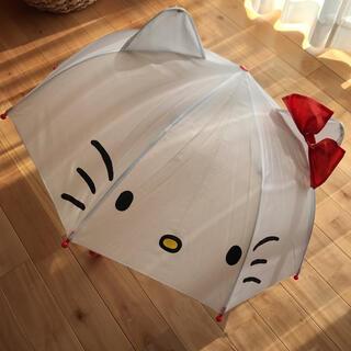 新品未使用 タグ付き サンリオ キッズ 耳付き雨傘 ハローキティ 47㎝(傘)