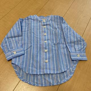 プティマイン(petit main)のpetit main プティマイン ストライプシャツ シャツ ノーカラーシャツ(シャツ/カットソー)