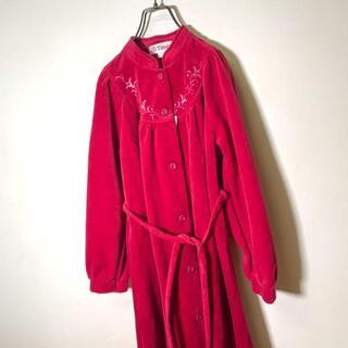 グリモワール(Grimoire)の80s 花柄刺繍のマキシ丈ベロアガウン 深みピンク バブル レトロ ヴィンテージ(ロングワンピース/マキシワンピース)