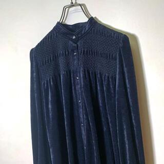 Grimoire - 80s ロング丈ベロアワンピース 日本製 黒 ブラック 装飾ボタン 上品